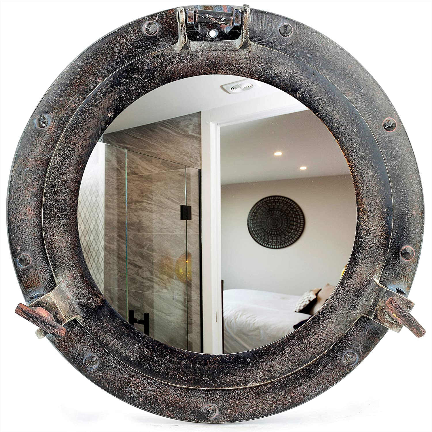 Rustic Dark Black Patina Porthole | Vintage Ship Decor Mirror | Pirate Gift | Black Chick Stylish Old Fashioned Wall & Door Fixtures Windows (Reflective Mirror, 12 Inches)