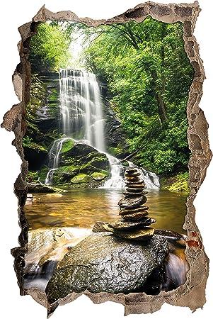 Zen Steine Vor Wasserfall Wanddurchbruch Im 3D Look, Wand  Oder  Türaufkleber Format: