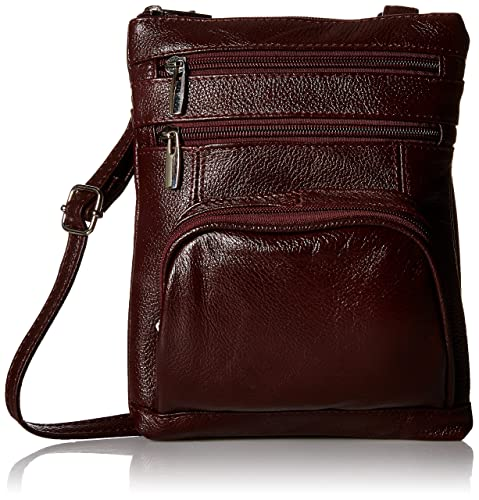 Roma Leather Genuine Leather Organizer Womens Crossbody Bag