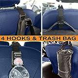 4 Pack Headrest Hooks for Car & Trash Bag-FREE BONUS Bottle Holders-New Model Strong and Durable Back Front Seat Hanger for Backpack,Handbag,Purse,Grocery Bags-Universal Backseat Storage Organizer