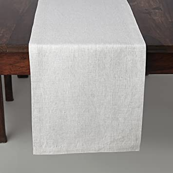 100% Pure Linen Table Runner Tesoro, Natural Fabric Handcrafted Rectangular Table  Runner, 14