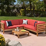 Ravello Outdoor Patio Furniture 4 Piece Wooden Sectional Sofa Set w/ Water Resistant Cushions (Red)
