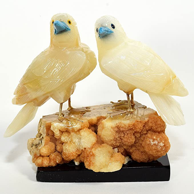 4 4 Pair Of Caramel White Onyx Love Birds Stone Collectible Crystal Sculpture Natural Mineral Statuette Hand Carved Decorative Figurine Peru Home Kitchen
