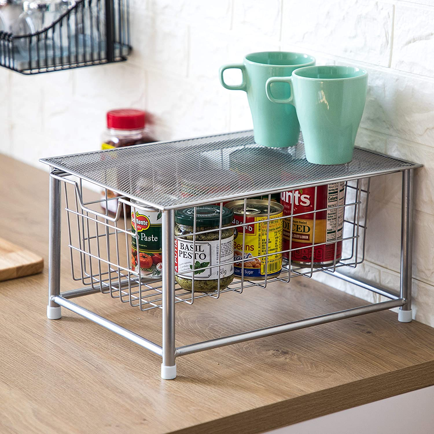 Oil-Rubbed Bronze Pull Out Shelf Home Zone Living Tabletop Kitchen Basket Organizer Horizontal Storage