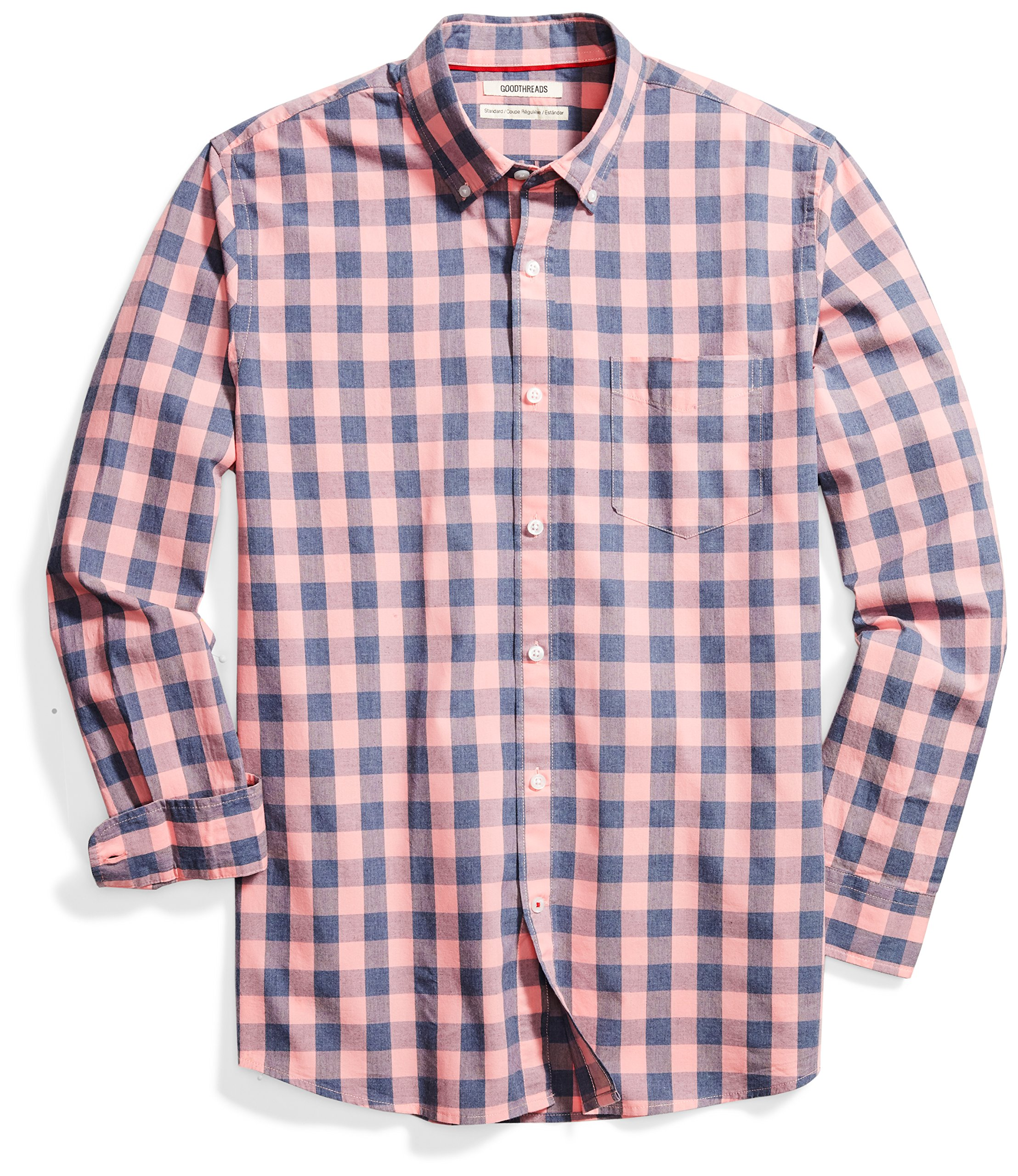 Goodthreads Men's Standard-Fit Long-Sleeve Heathered Scale Check Shirt, Pink/Blue, Large