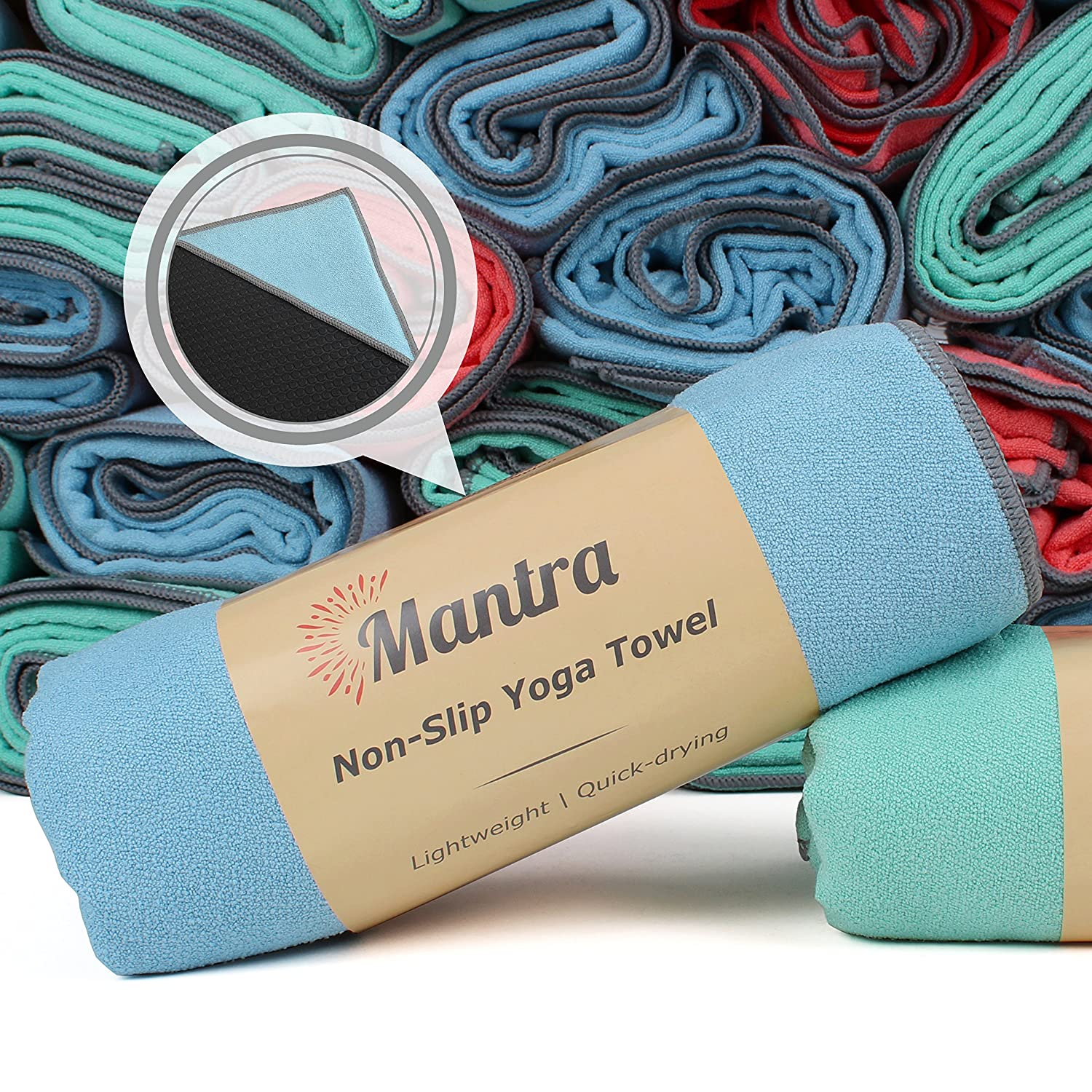 Mantra™ Yoga Towel - Non Slip Hot Yoga Towel with Anchor Fit Corner Pockets - Best Yoga Mat Towel for Pilates, Bikram, and Ashtanga