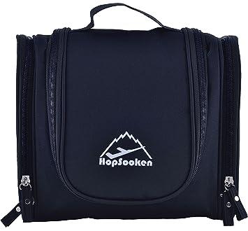 19d88bda719c Amazon.com   Hopsooken Portable Hanging Toiletry Bag Travel Organizer  Cosmetic Bag for Women Makeup Men Shaving Kit (Black)   Beauty