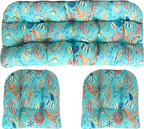 RSH DECOR Indoor Outdoor 3 Piece Large 22″ x 44″ 21″ x 21″ Wicker Tufted Cushion Piece Set Blue