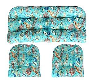 "RSH DECOR Indoor Outdoor 3 Piece Large (22"" x 44"" & 21"" x 21"") Wicker Tufted Cushion Piece Set ~ Blue, Peach, White, Cream, Orange, Coral, Red ~ Ocean Life ~ Coastal ~ Coral Reef"