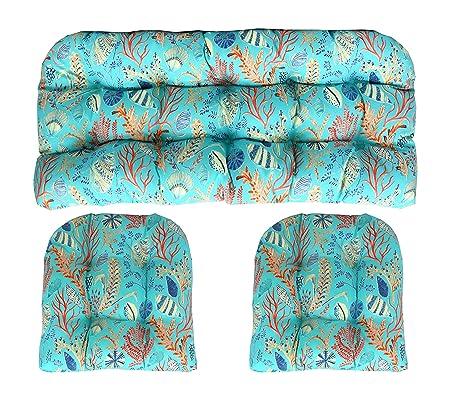 Amazon.com: 3 pieza cojín tela de mimbre pieza set ~ Azul ...