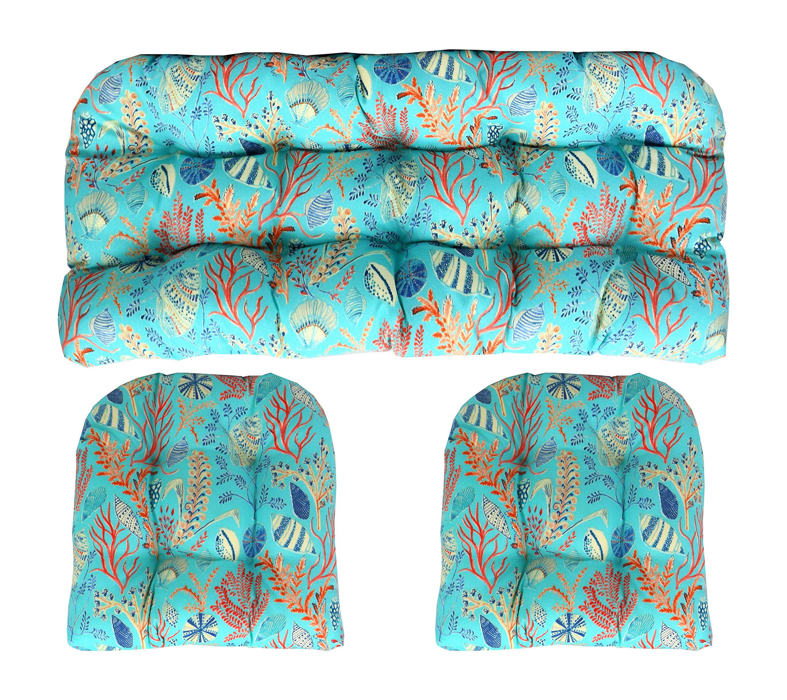 RSH Decor Indoor Outdoor 3 Piece Wicker Tufted Cushion Piece Set ~ Blue, Peach, White, Cream, Orange, Coral, Red ~ Ocean Life ~ Coastal ~ Coral Reef by RSH Decor