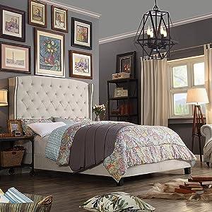 Rosevera Platform bed Home Gustavo, Twin, Beige