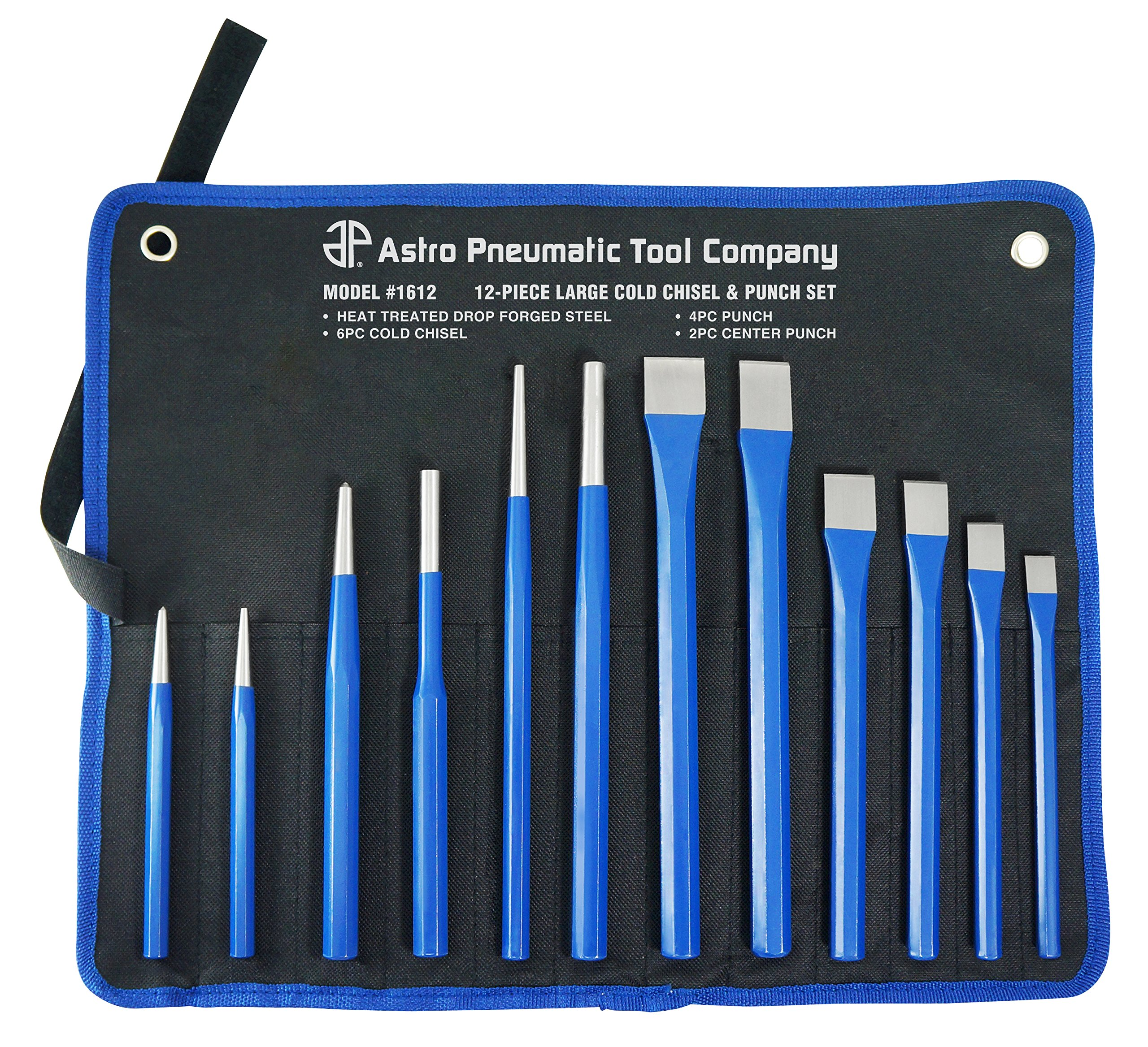 Astro Pneumatic Tool 1612 Large Cold Chisel & Punch Set, 12 Piece by Astro Pneumatic Tool