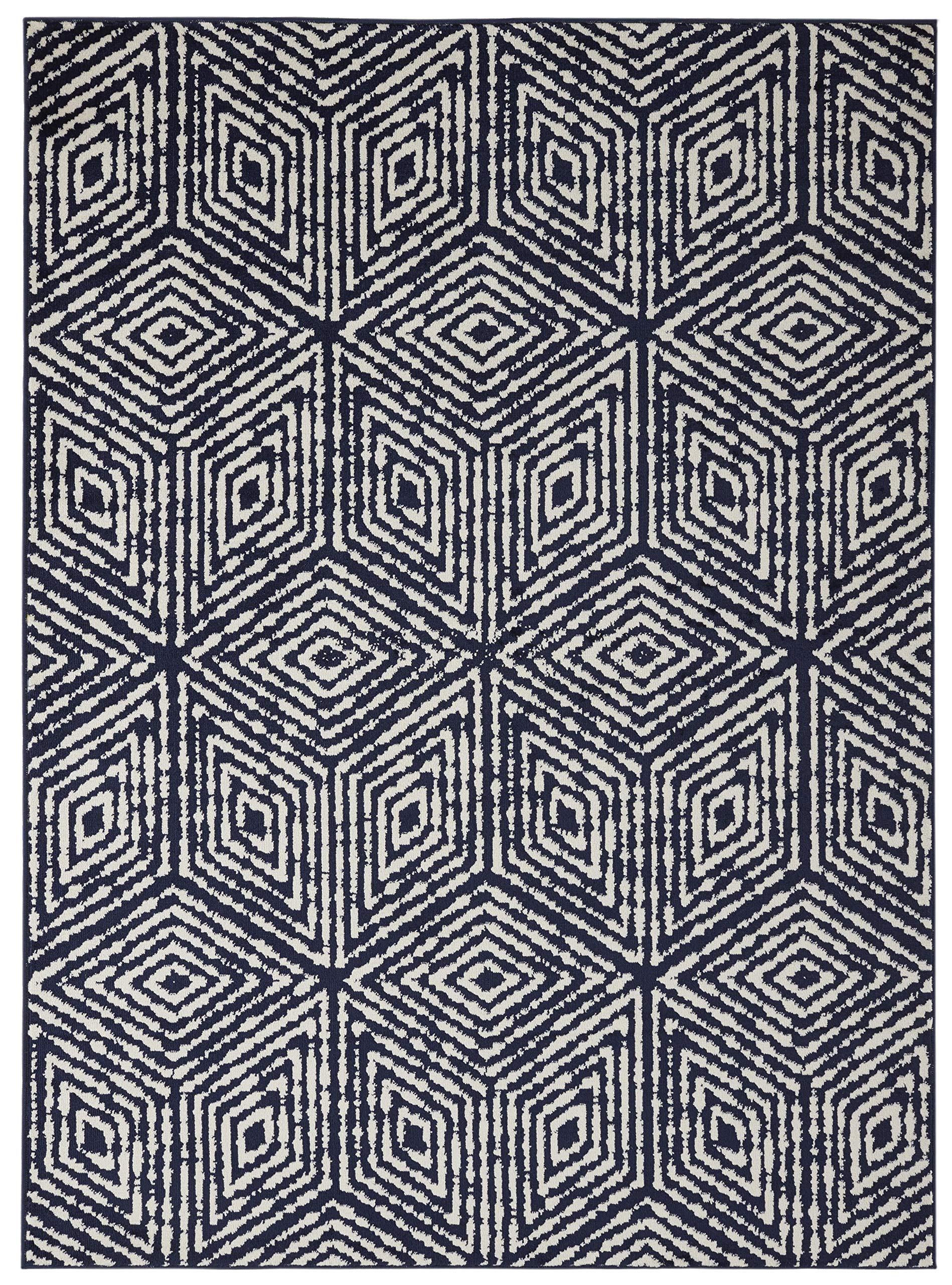 Diagona Designs Contemporary Geometric Cubes Design Modern 8' X 10' Area Rug, 94'' W x 118'' L, Navy/Ivory (JAS2195) by Diagona Designs (Image #2)