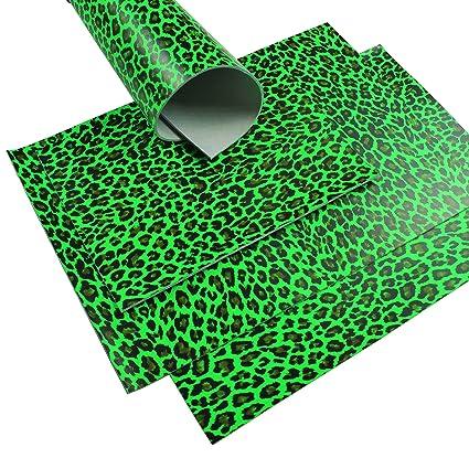 Piel de búfalo Neon Verde Leopard Diseño 2,5 mm A3 zuschnitt ...