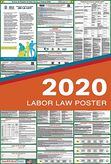 2020 New Jersey Spanish State /& Federal Labor Law Posters for Workplace Compliance