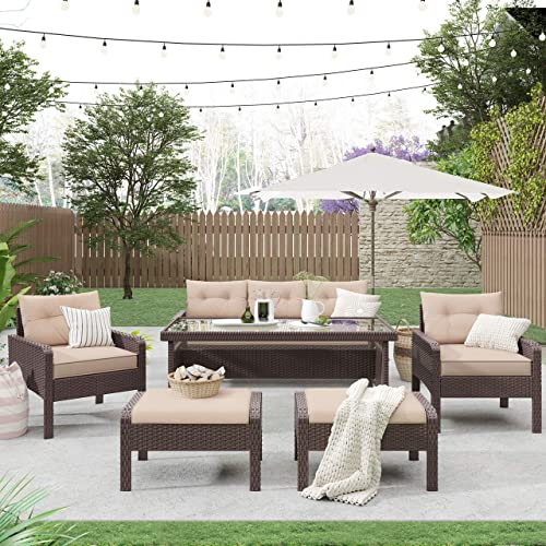 Merax 6-Piece Outdoor Patio PE Wicker Rattan Sofa Set Patio Furniture Set