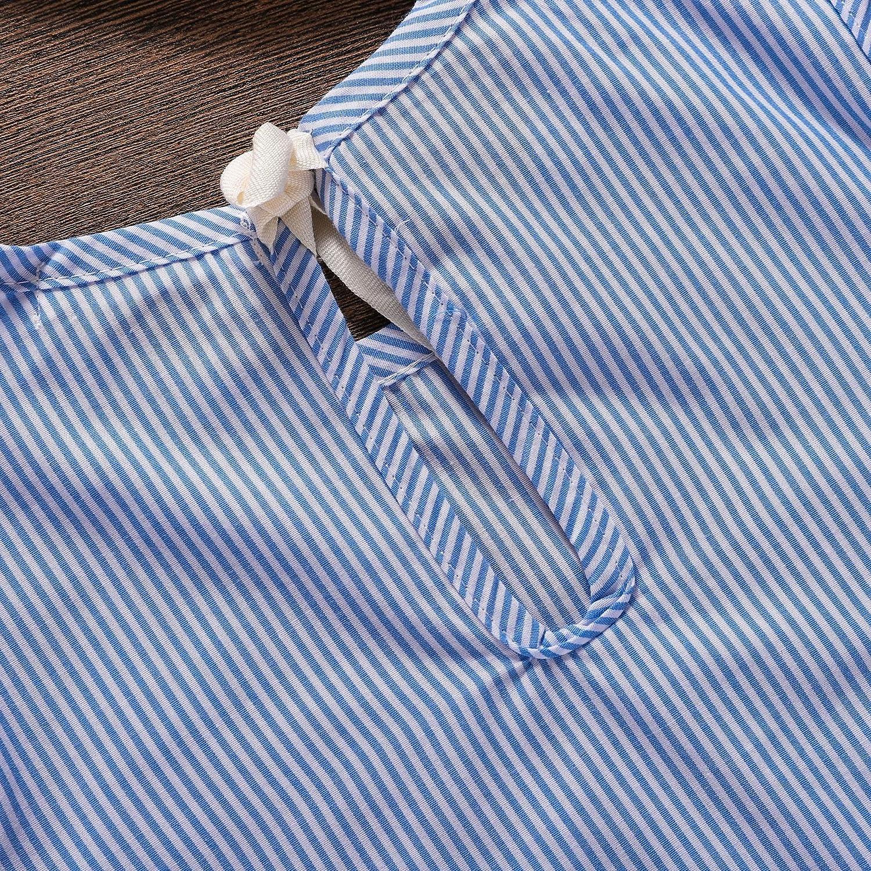 Blue Stripe Summer Children Kids Baby Girls Dress Cotton Casual Short Sleeve Striped Off Shoulder Blouses for Girls