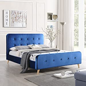 Christopher Knight Home Baron | Mid Century Queen Platform Bed Frame | in Navy Blue, Natural