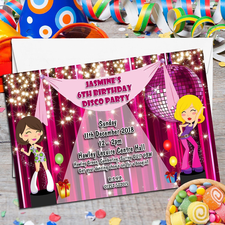 10 Personalised Girls Disco Dance Birthday Party Invitations Invites ...