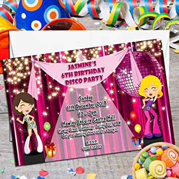 10 personalised girls disco dance birthday party invitations invites n76 - Disco Party Invitations