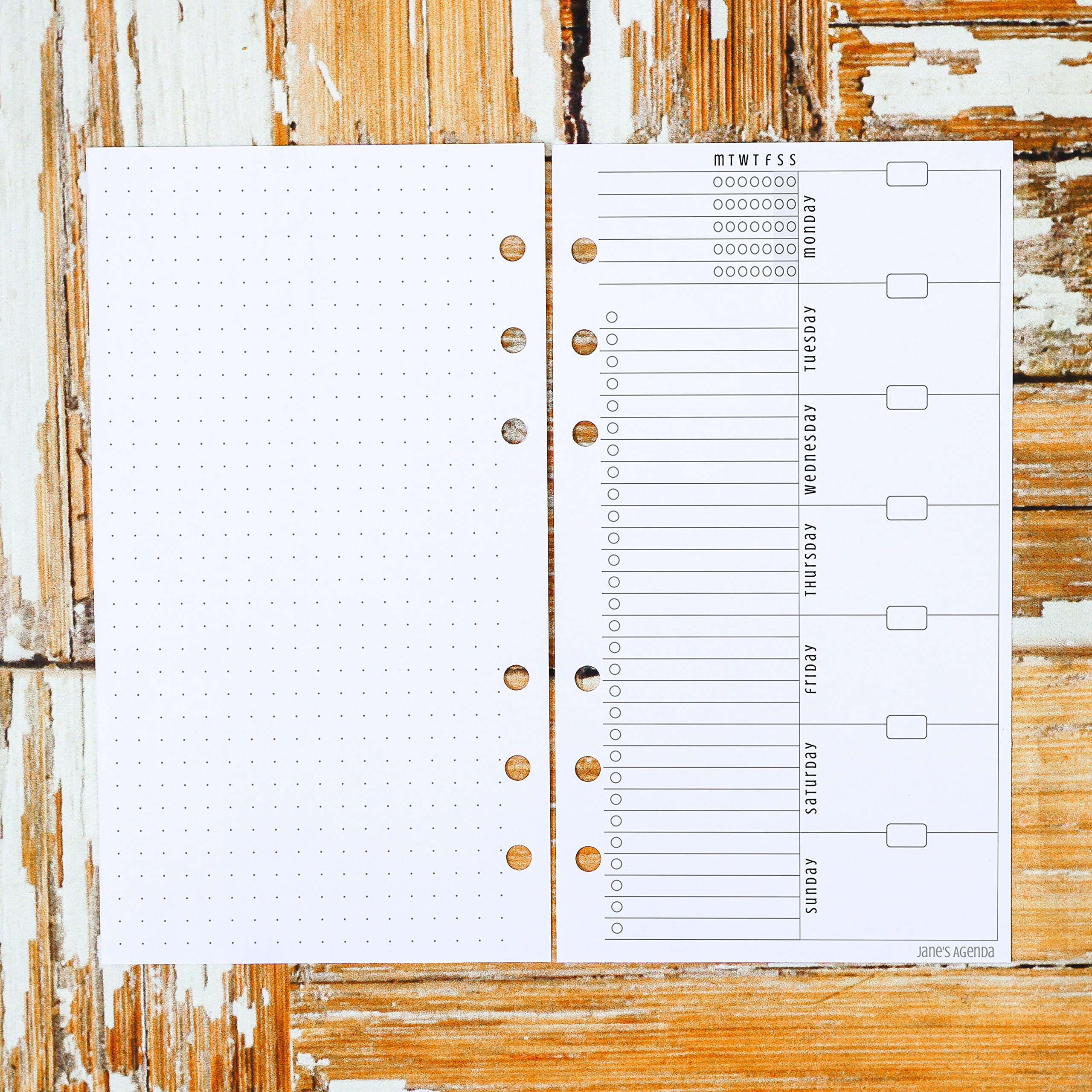 Undated Weekly Planner Inserts for use with Personal Six Ring Size Planners such as Filofax