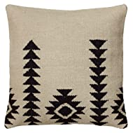 Rizzy Home T05807 Woven Southwestern Patten Decorative Pillow, 18 by 18-Inch, Ivory