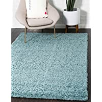 Unique Loom Solo Solid Shag Collection Modern Plush Light Slate Blue Area Rug (7' x 10')