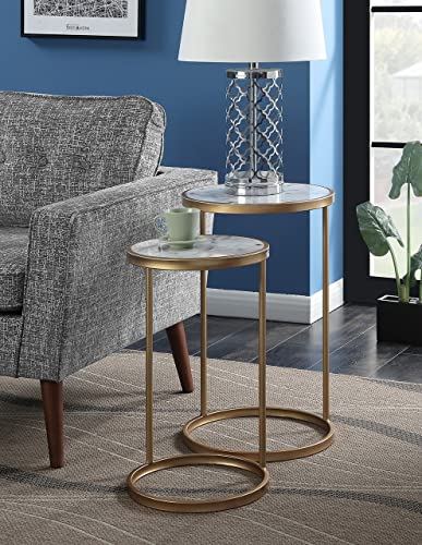Convenience Concepts Gold Coast Faux Marble Nesting End Tables, Faux Marble Gold