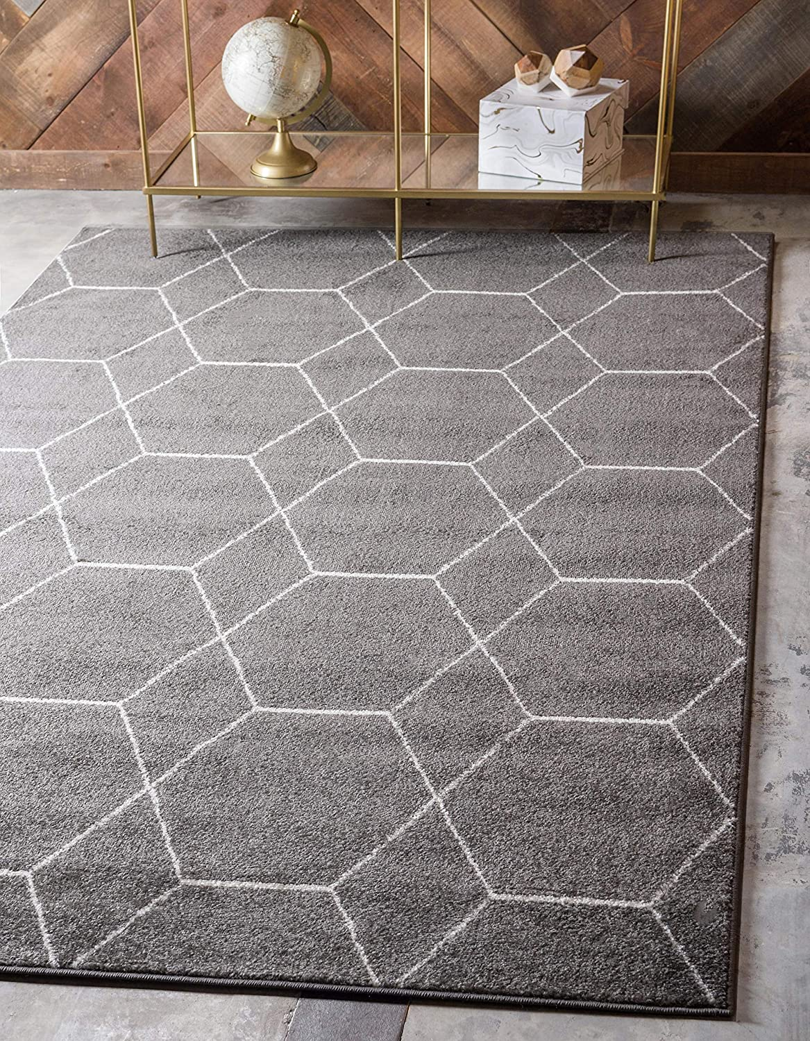 Unique Loom Trellis Frieze Collection Lattice Moroccan Geometric Modern Dark Gray Area Rug (4' 0 x 6' 0)