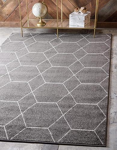 Unique Loom Trellis Frieze Collection Lattice Moroccan Geometric Modern Dark Gray Area Rug 8' 0 x 10' 0