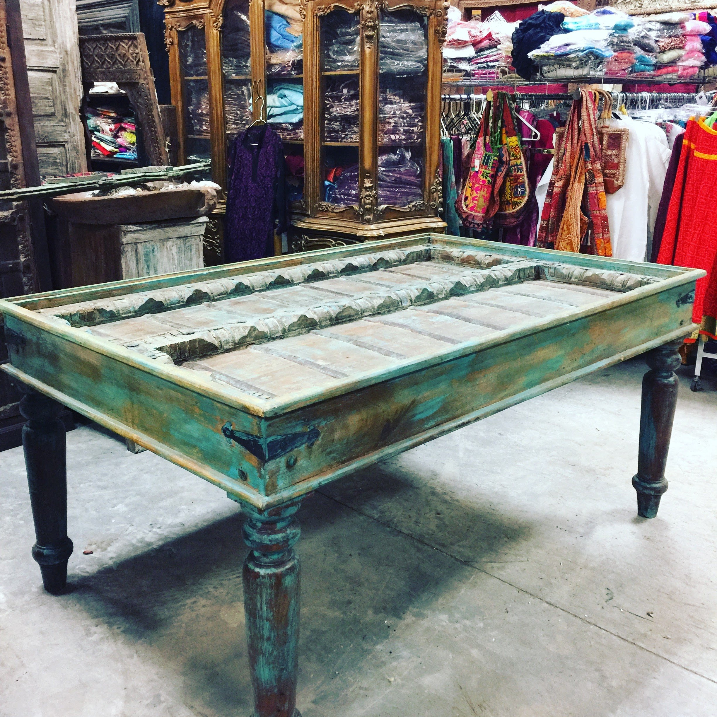 Mogulinterior Antique Distressed Blue Dining Table Haveli Old Door Carved Study Tables Decorative Shabby Chic Interior Design
