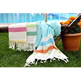 LaModaHome (SET OF 3) Colorful Cabana Striped Turkish Cotton Bath Beach Hammam Towel Peshtemal Blanket, Random Color