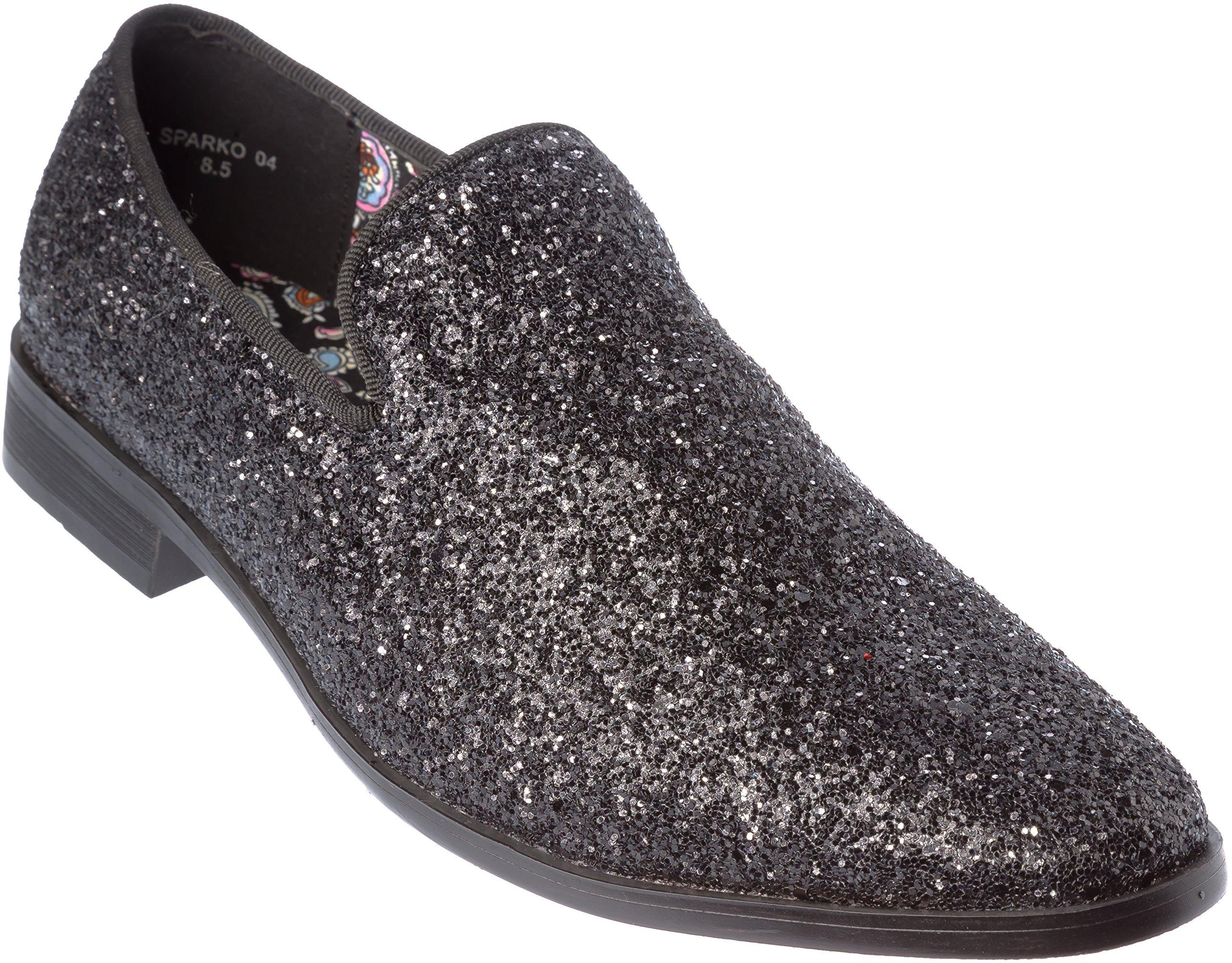 Mens Loafer-Fashion Slip-On Sparkling-Glitter Black Dress-Shoes Size 9