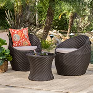 Christopher Knight Home Belize Outdoor Wicker Chat Set with Water Resistant Cushions, 3-Pcs Set, Brown / Textured Beige
