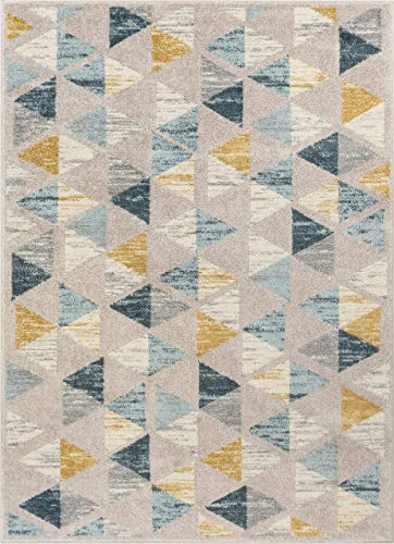 Well Woven Mystic Simone Gold Modern Geometric 5 3 x 7 3 Distressed Area Rug