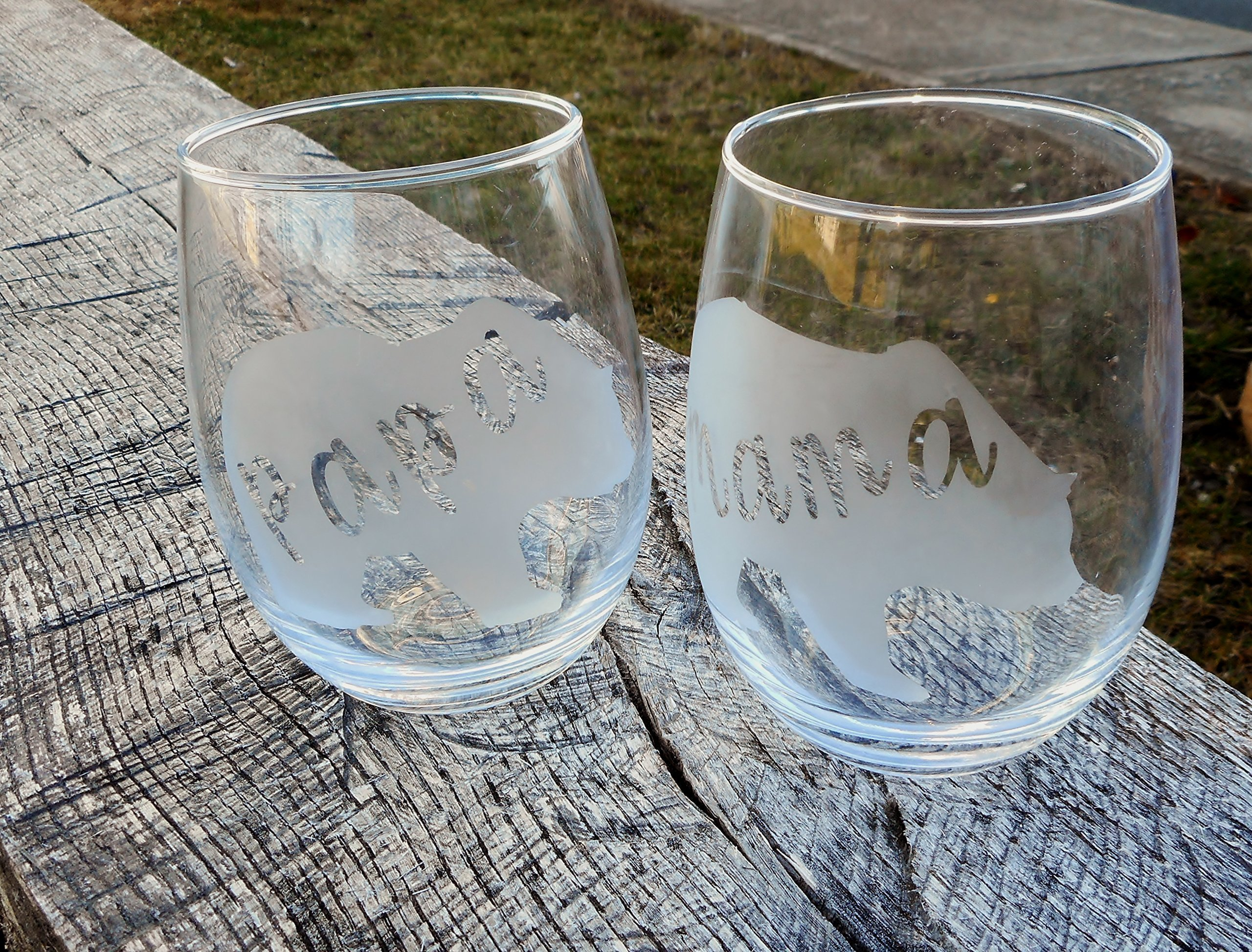Mama Bear and Papa Bear Clear Stemless Wine Glasses, Set of 2-21 oz by AlyChris Boutique (Image #1)