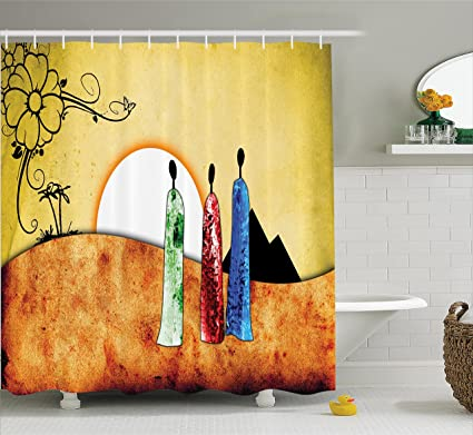 Ambesonne African Decorations Shower Curtain Set People Facing Large Sun In Savannah Desert Boho