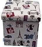 "Fsobellaleo Linen Folding Storage Ottoman Cube Foot Rest Stool Coffee Table15""x15""x15"" (paris-red)"