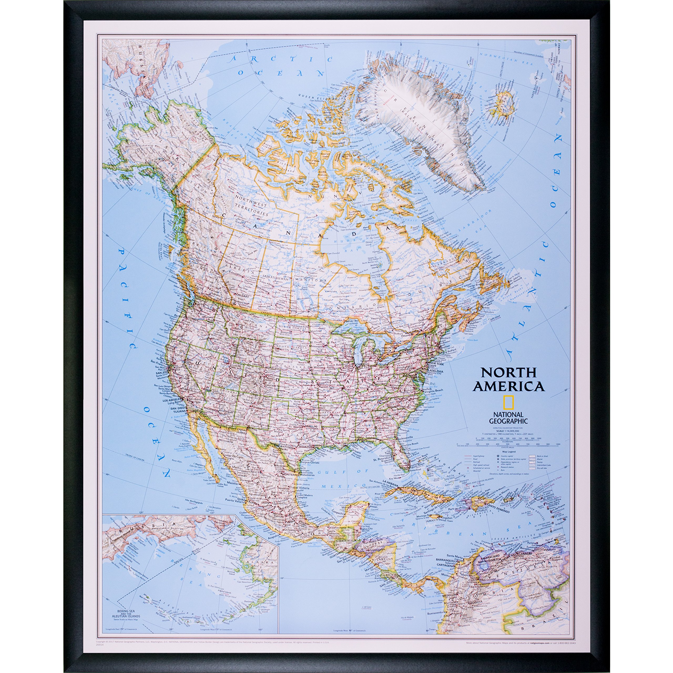 Craig Frames Wayfarer, Classic North America Push Pin Travel Map, Black Frame and Pins, 24 x 30 Inch by Craig Frames