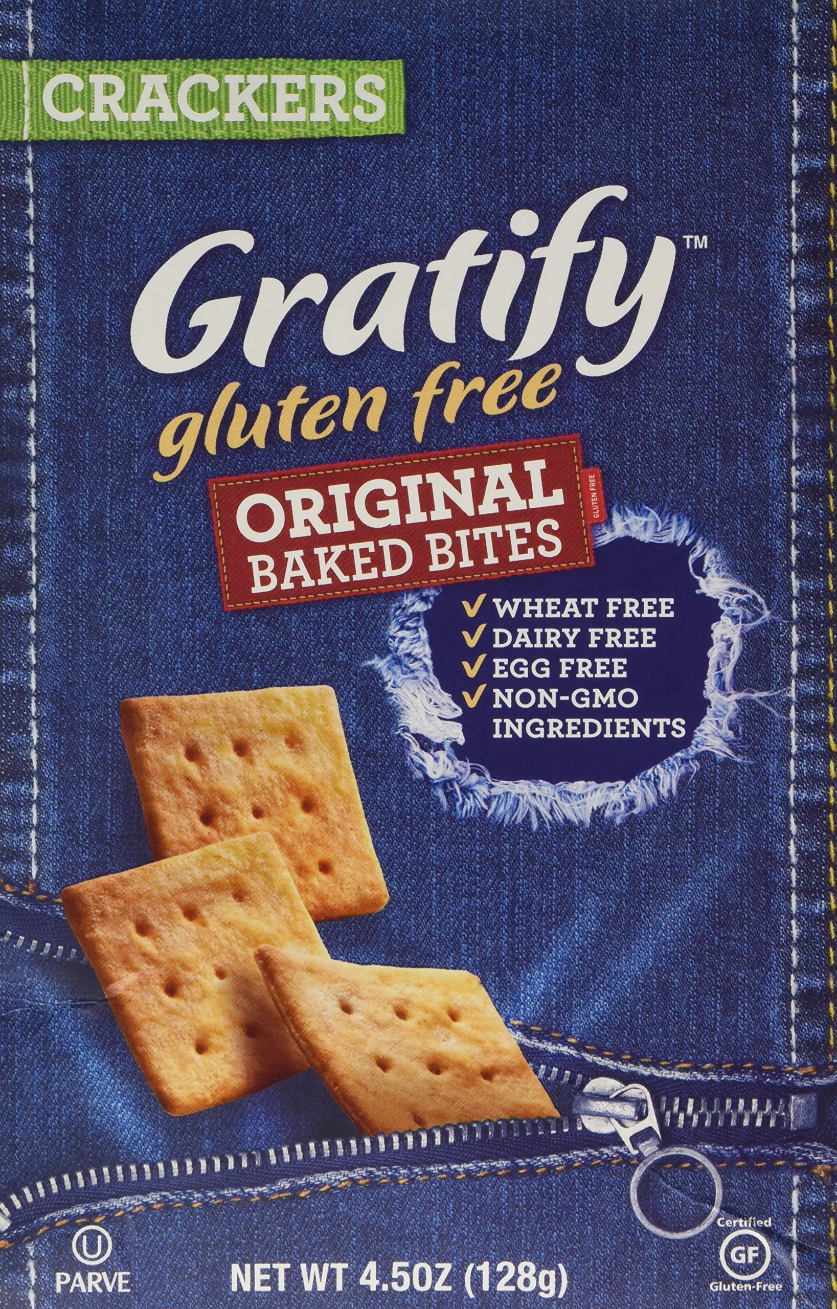 Gratify Gluten Free Crackers Bites Original Flavor Crispy Baked Vegan GF Snacks, 4.5oz Bag (Pack of 12) by Gratify