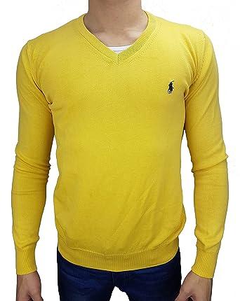 Polo by Ralph Lauren Pullover Herren SLIM FIT   newport yellow - gelb  Reiter navy   5123ad269a
