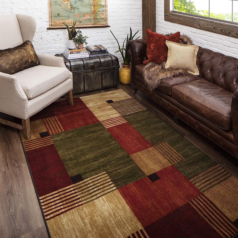 Amazon Com Mohawk Home New Wave Alliance Geometric Area Rug 6 X9 Tan Red Green Furniture Decor