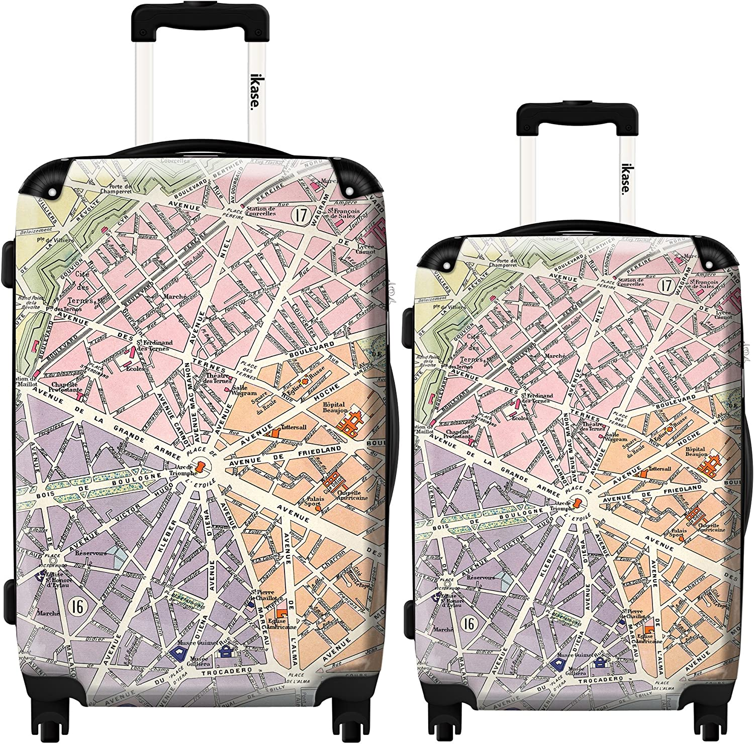 Ikase Hardside Spinner Luggage Colored map
