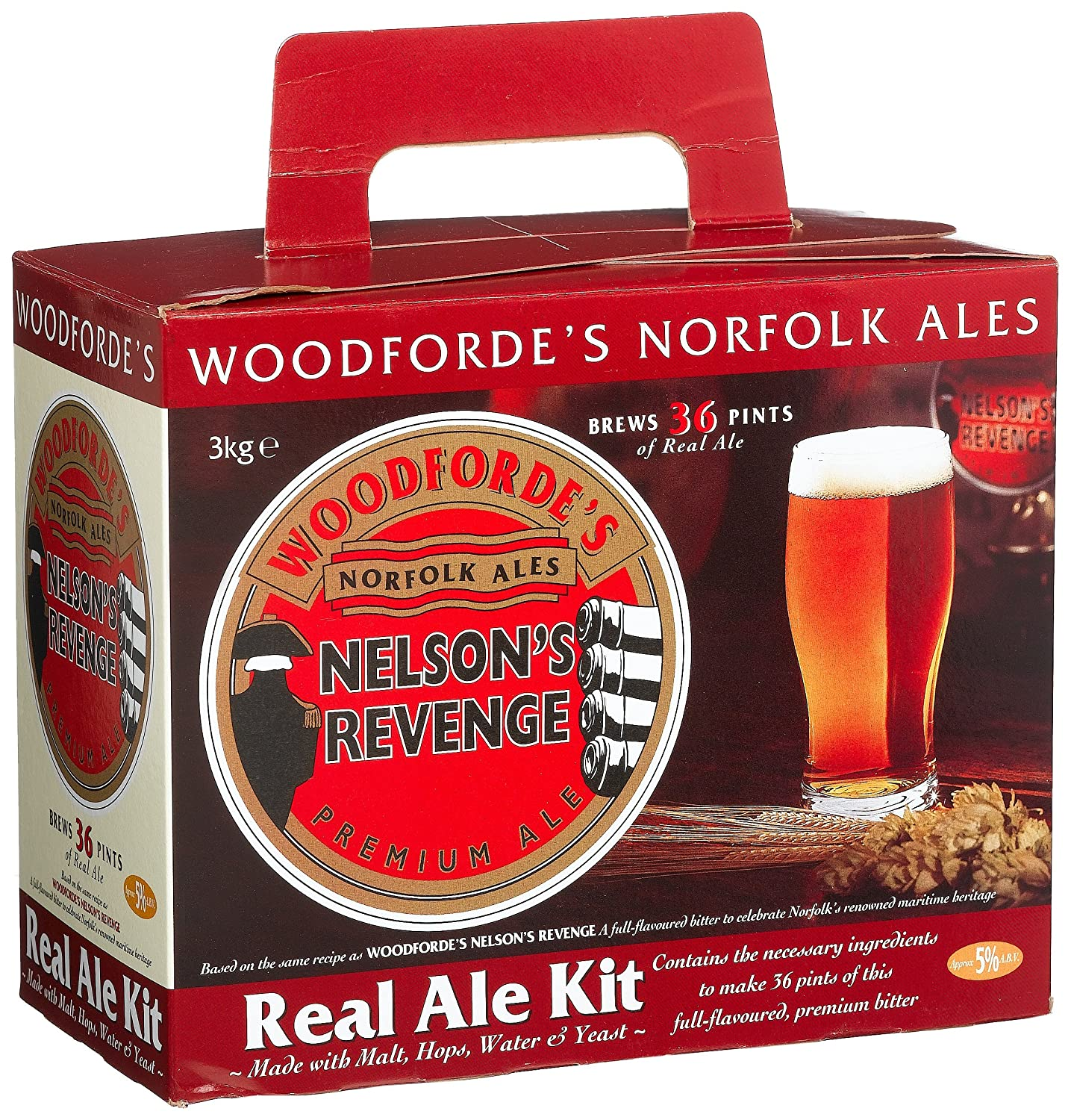 Woodfordes Nelsons Revenge 36 Pint 3kg Home Brew Beer kit: Amazon ...