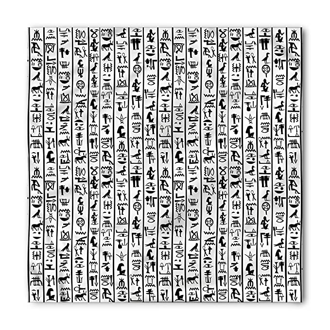 Egyptian Bandana By Ambesonne Vertical Borders With Hieroglyphics Alphabet Ancient Language Symbols Cultural Printed
