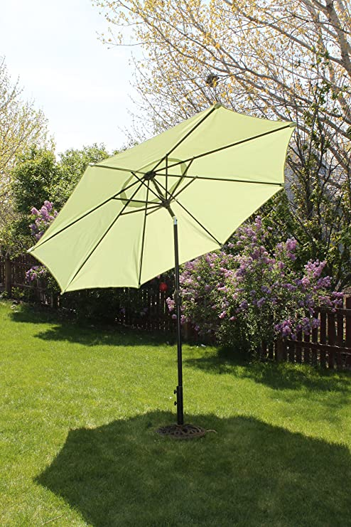 9u0027 Market Patio Umbrella With Tilt And Crank   Light Lime Green