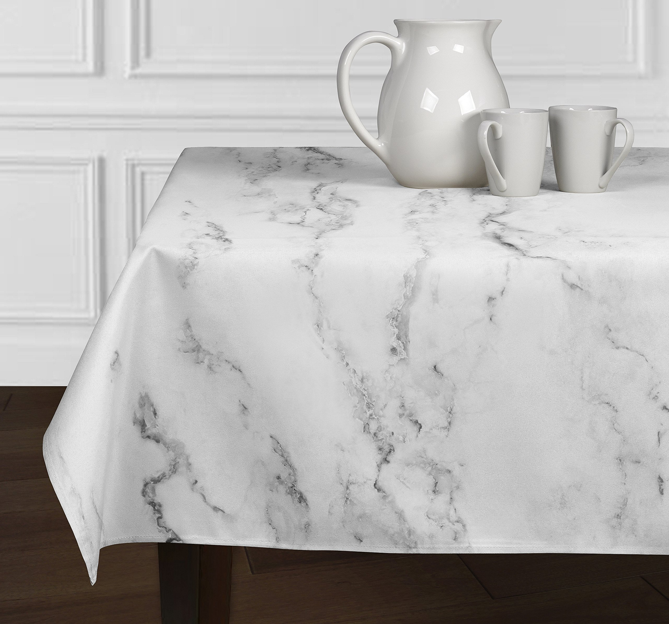 A LuxeHome Black Grey and White Modern Contemporary Marble Tablecloths Dining Room Kitchen Rectangle Oblong 60'' x 102'' by A LuxeHome