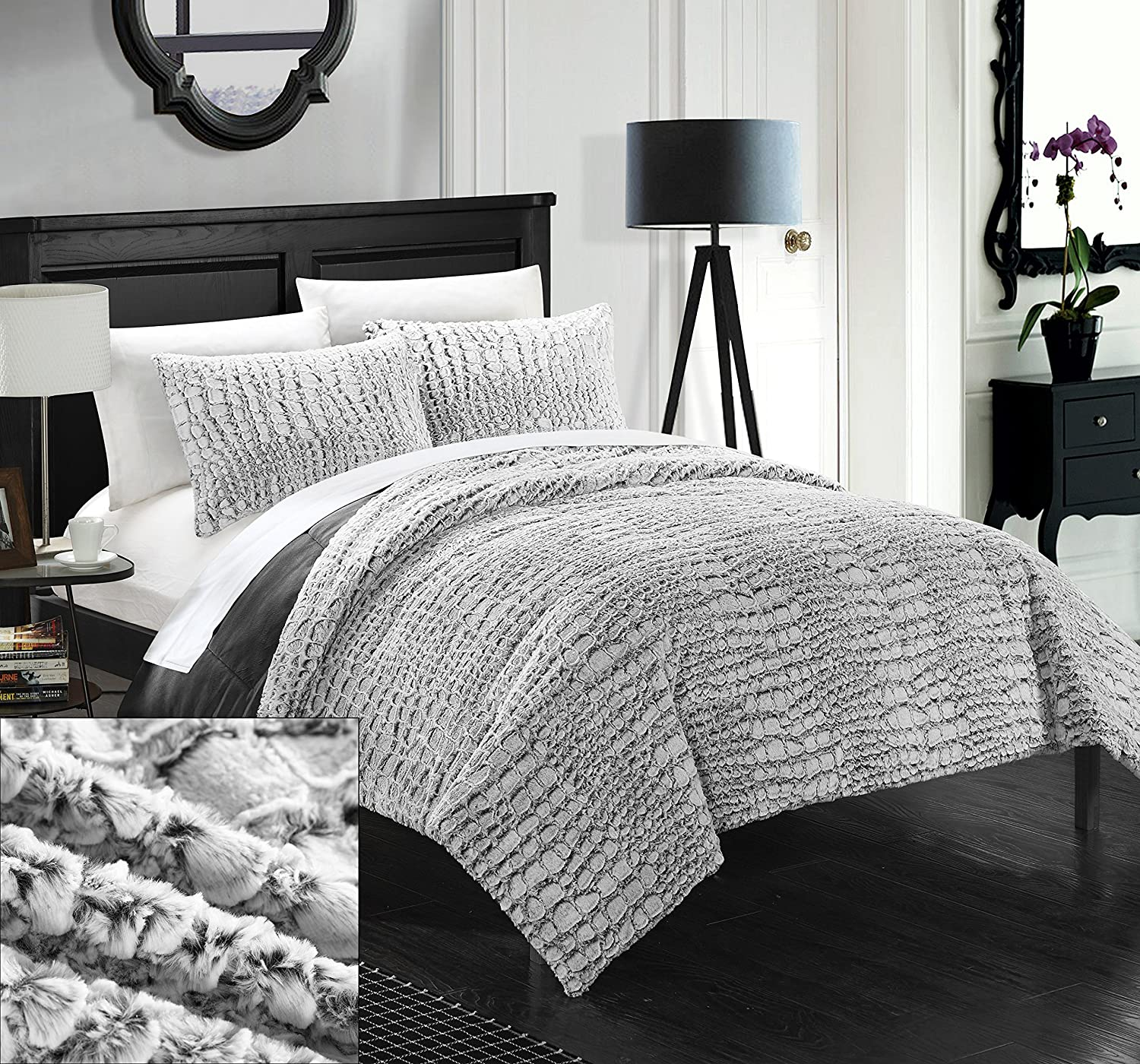 Chic Home 3 Piece New Faux Fur Collection with Mink Like Backing in Alligator Animal Skin Design Comforter Set, Queen, Grey