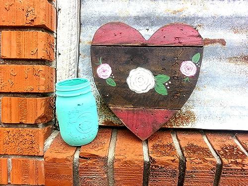 Wooden Valentine/'s Day Sign Modern Heart Sign Floral Heart Valentine/'s Day Decor
